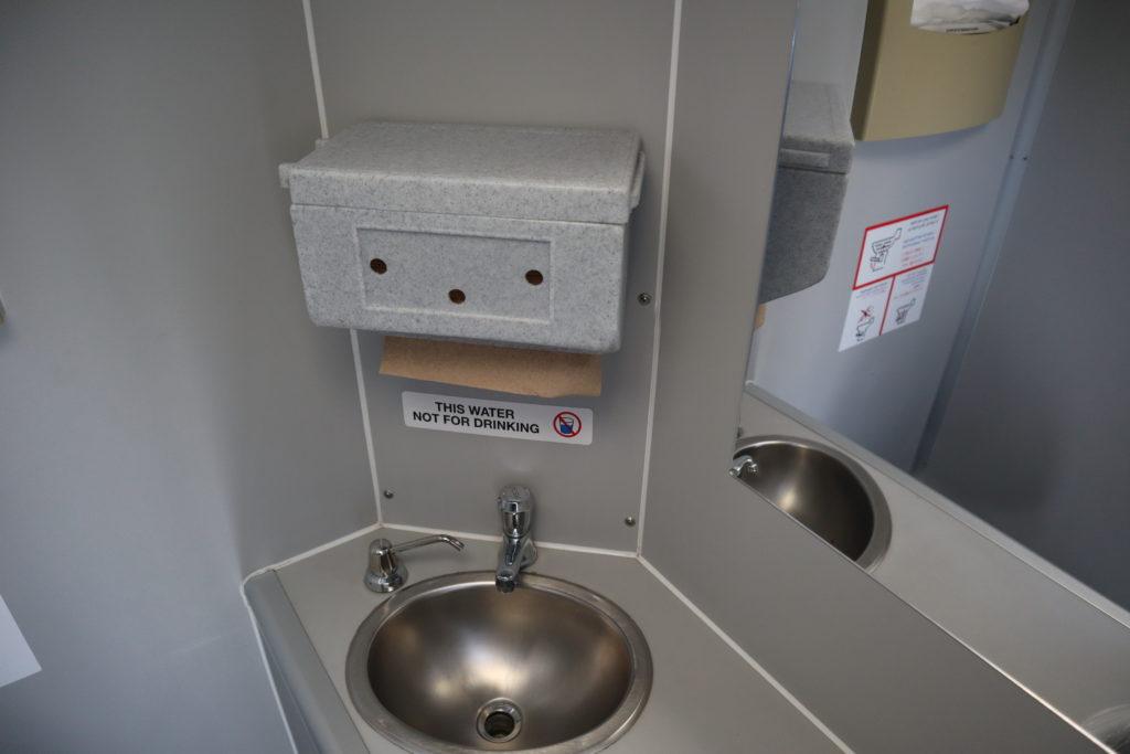 upscale portable restroom interior