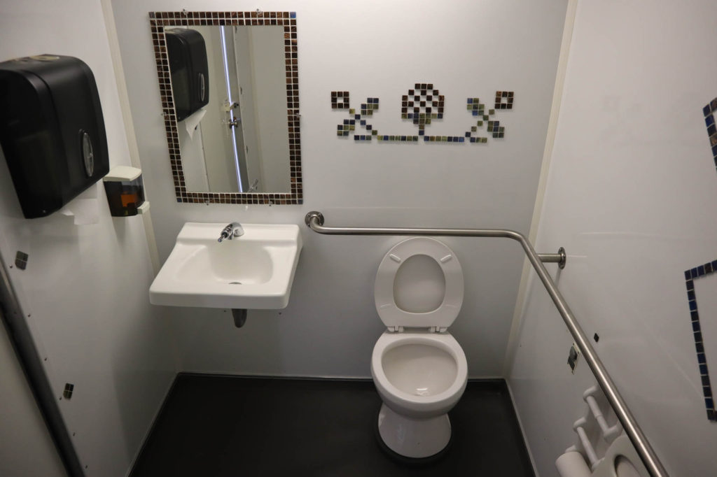 interior of handicap portable restroom