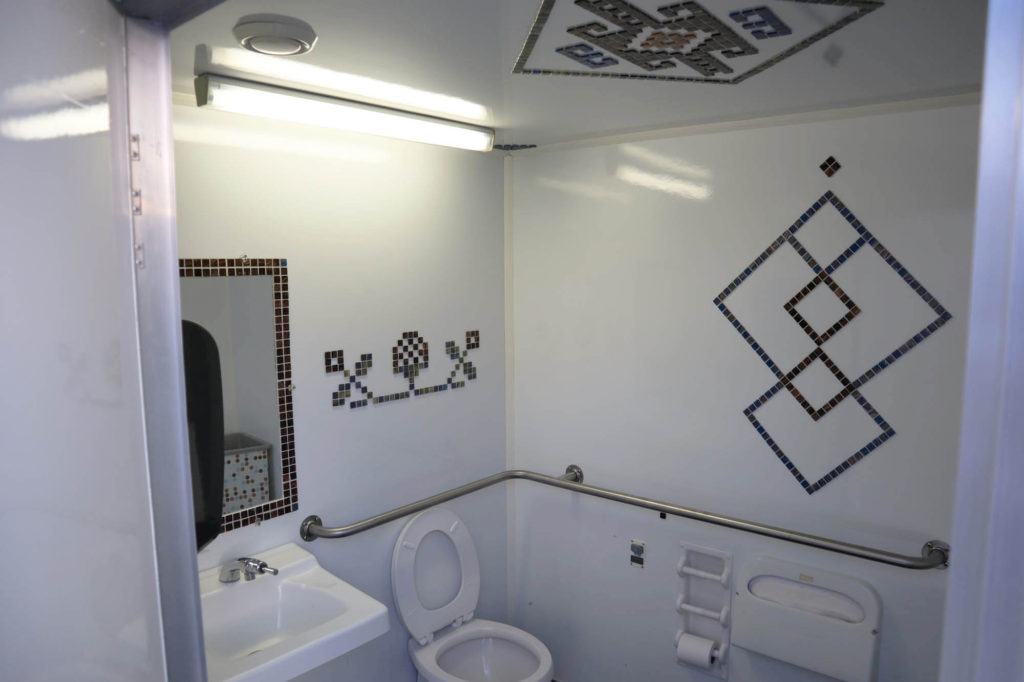 Interior of ADA accessible portable restroom