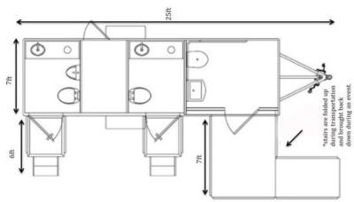 Floor plan of ADA accessible portable restroom trailer.