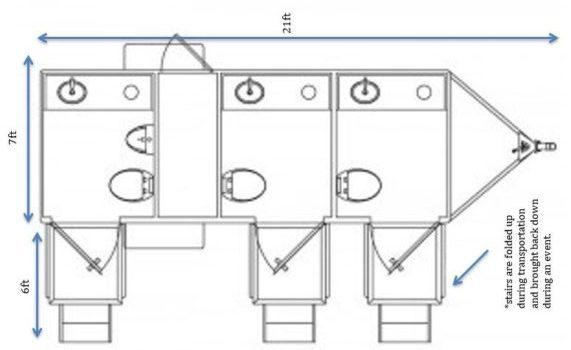 floor plan for luxury III portable restroom