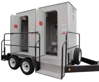 This luxury portable restroom trailer is perfect for any small event in your back yard or at the park without connecting to power or water