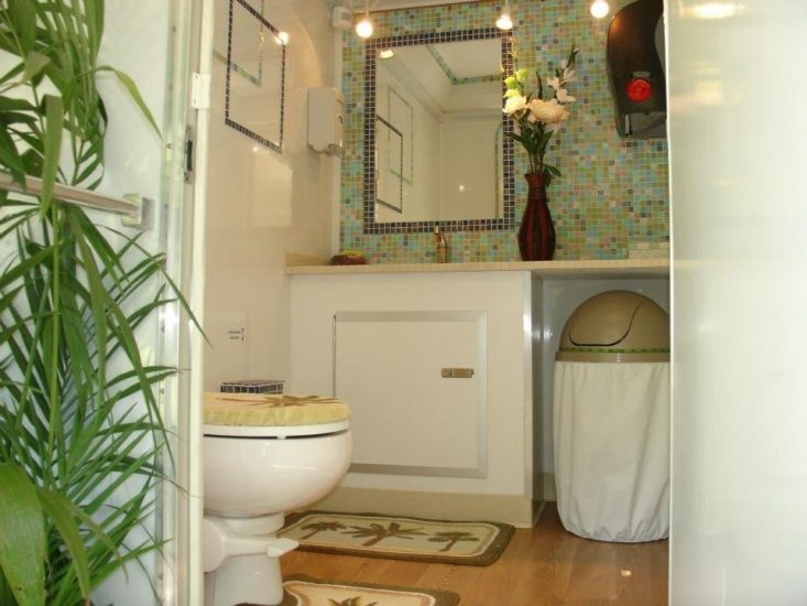 interior of Luxury portable restroom trailer