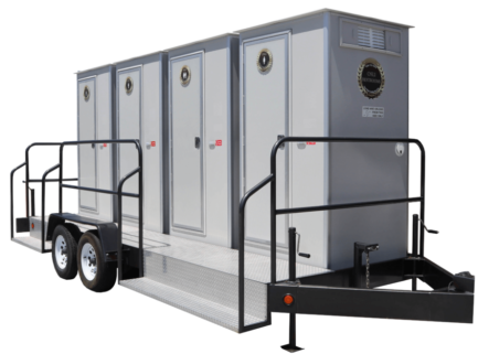 This trailer is a large, luxury portable restroom trailer perfect for large outdoor events away from water and electricity while providing a comfortable experience.