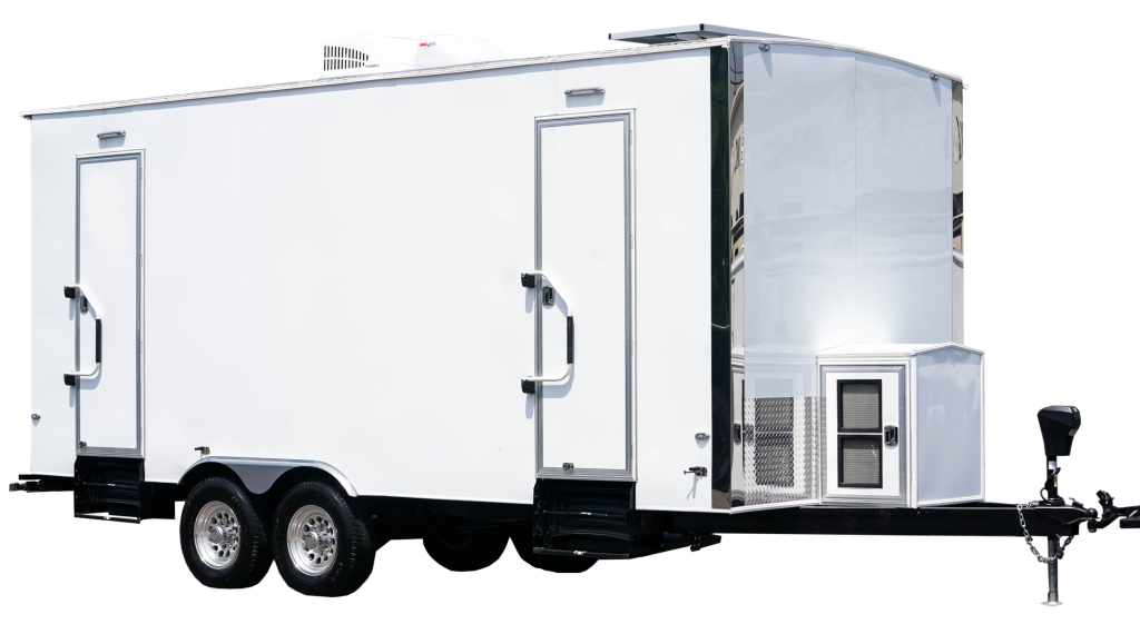 This luxury portable restroom is designed for large special events. It contains 2 urinals (in mens) and 2 private stalls inside each door. This trailer is perfect for tight spaces and can run directly from a generator,
