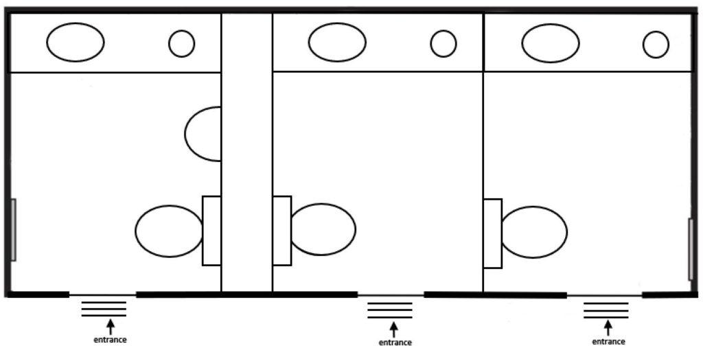 luxury 3 portable restrooms floorplan